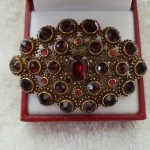 Jewelry - Vintage Czech Bohemian Style Garnet Brooch